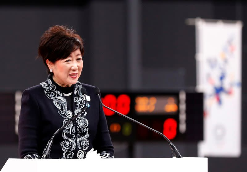 Tokyo governor Yuriko Koike speaks at the opening ceremony of the Ariake Arena, which will host volleyball and wheelchair basketball competitions in Tokyo 2020 Olympic Games in Tokyo