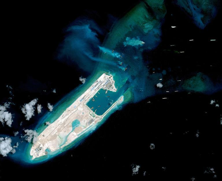 Satellite image taken on April 2, 2015 of what is claimed to be an under-construction airstrip in the disputed South China Sea
