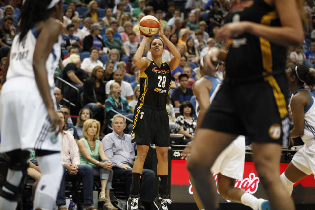 Tulsa Shock forward Nicole Powell (28) shoots in the first half of a WNBA basketball game against the Minnesota Lynx, Friday, Aug. 16, 2013, in Minneapolis. (AP Photo/Stacy Bengs)