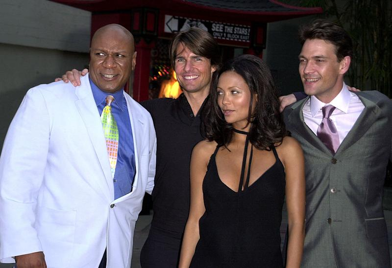 "The cast of the new film ""Mission Impossible 2"" poses at the film's premiere at the Chinese Theater in Hollywood, CA, 18 May, 2000. From L-R: actors Ving Rhames, Tom Cruise, Thandie Newton, and Dougray Scott. (ELECTRONIC IMAGE) AFP PHOTO Lucy NICHOLSON (Photo by LUCY NICHOLSON / AFP) (Photo by LUCY NICHOLSON/AFP via Getty Images)"