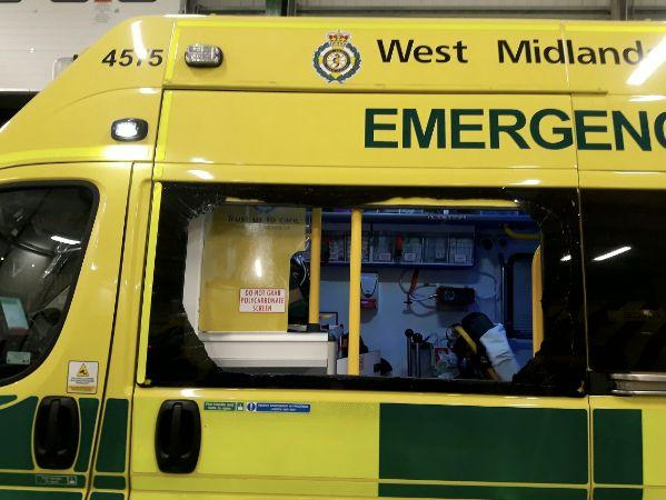 The teenager vandalised the ambulance when a patient was inside. (SWNS)