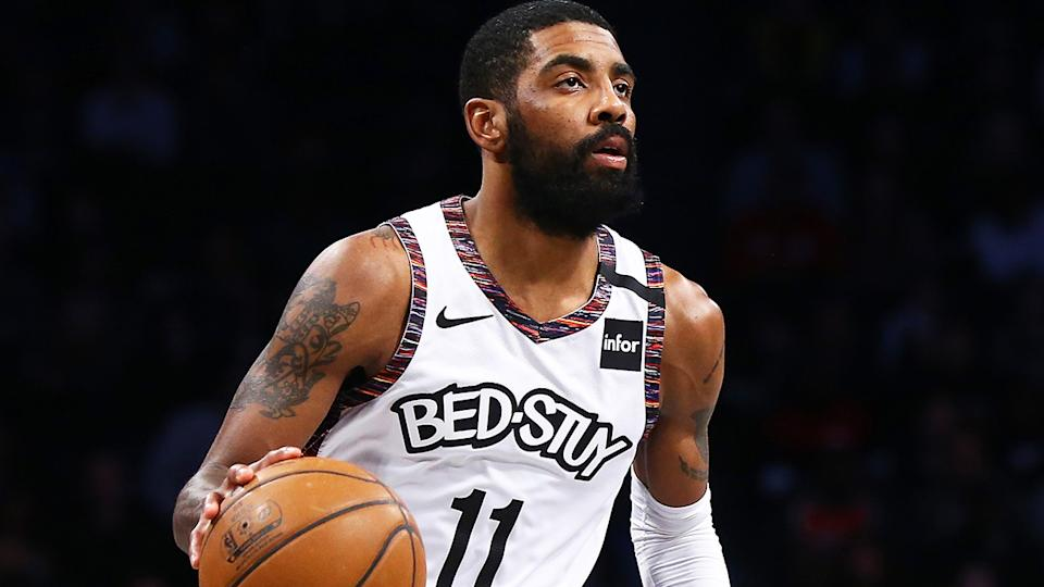 Brooklyn Nets point guard Kyrie Irving was fined $25,000 by the NBA after refusing to take part in media obligations. (Photo by Mike Stobe/Getty Images)