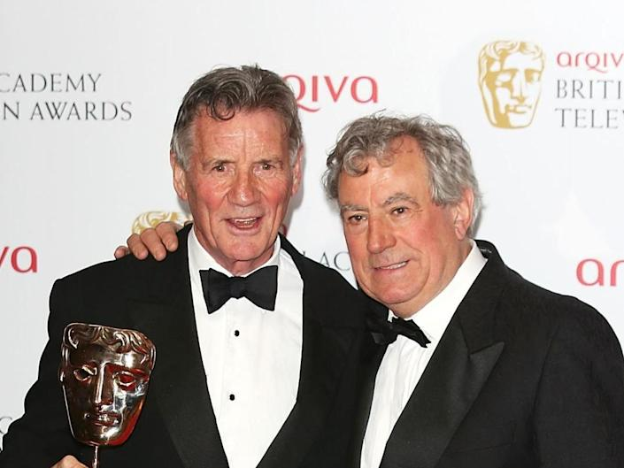 Michael Palin and Terry Jones at the Baftas in 2013: Getty