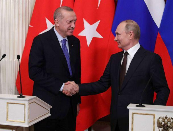 PHOTO: Russian President Vladimir Putin and Turkish President Recep Tayyip Erdogan shake hands during a joint news conference following their talks in the Kremlin in Moscow, Russia, March 5, 2020. (Michael Klimentyev/SPUTNIK/Kremiln/EPA via Shutterstock)