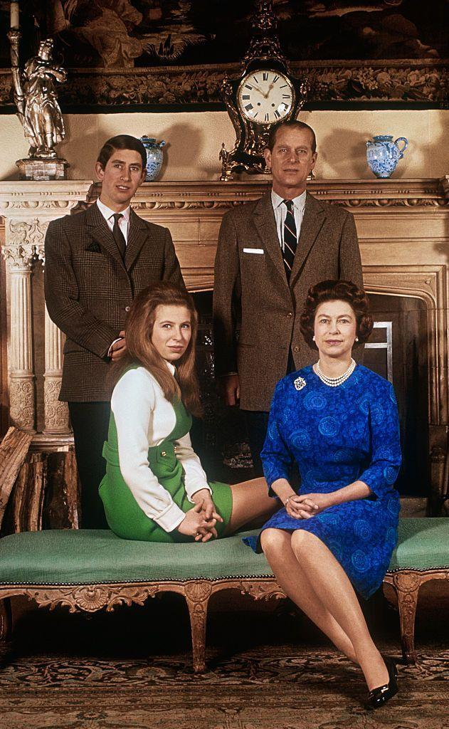 <p>Posing in the salon at Sandringham House alongside Prince Charles, Prince Philip, and Queen Elizabeth. </p>