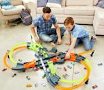<p>The <span>Hot Wheels Colossal Crash Track Set</span> ($90, originally $100) is always an epic gift. After they put it together, they can spend hours racing all their cars.</p>