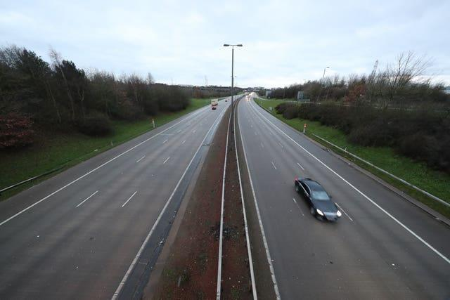 A near empty road at junction 44 of the M1 motorway near Leeds