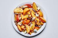 "The combination of ripe stone fruit, candied pecans, Gorgonzola, and a sweet herb syrup hugs the line between savory and sweet, meaning you can serve this recipe as a summer salad or a light dessert. This recipe was reader-requested from <a href=""https://thymecafeandmarket.com/"" rel=""nofollow noopener"" target=""_blank"" data-ylk=""slk:Thyme Cafe and Market"" class=""link rapid-noclick-resp"">Thyme Cafe and Market</a>, Santa Monica, CA. <a href=""https://www.bonappetit.com/recipe/nectarines-and-peaches-with-lavender-syrup?mbid=synd_yahoo_rss"" rel=""nofollow noopener"" target=""_blank"" data-ylk=""slk:See recipe."" class=""link rapid-noclick-resp"">See recipe.</a>"
