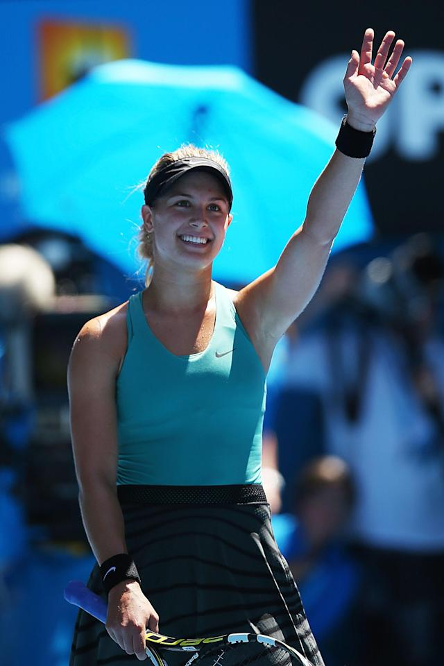 MELBOURNE, AUSTRALIA - JANUARY 21: Eugenie Bouchard of Canada celebrates winning her quarterfinal match against Ana Ivanovic of Serbia during day nine of the 2014 Australian Open at Melbourne Park on January 21, 2014 in Melbourne, Australia. (Photo by Mark Kolbe/Getty Images)