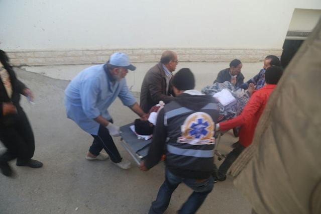 <p>Woundeds are taken to the hospital after the Egypt Sinai mosque bombing in Al-Arish, Egypt on Nov. 24, 2017. (Photo: Stringer/Anadolu Agency/Getty Images) </p>