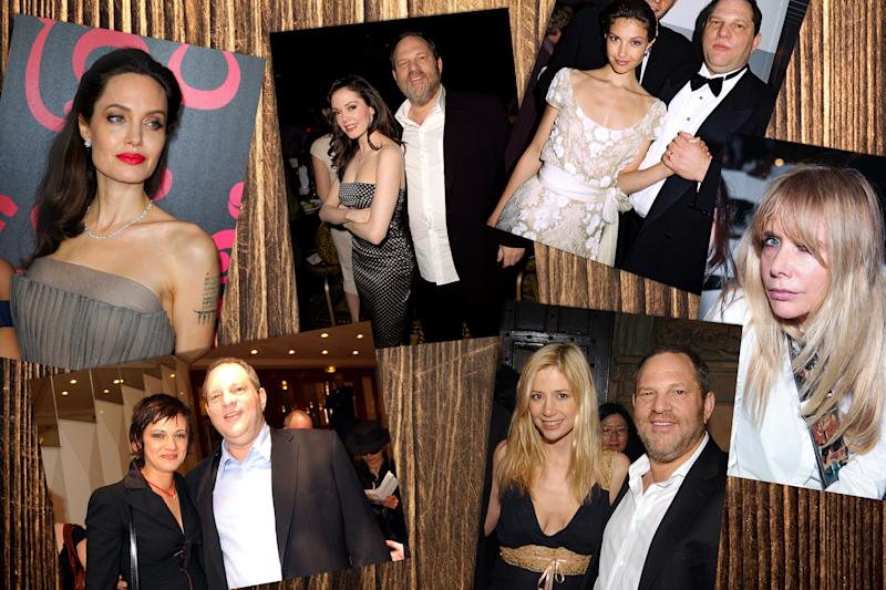 (Clockwise from top left) Angelina Jolie; Rose McGowan and Harvey Weinstein; Ashley Judd and Harvey Weinstein; Rosanna Arquette; Mira Sorvino and Harvey Weinstein; Asia Argento and Harvey Weinstein.
