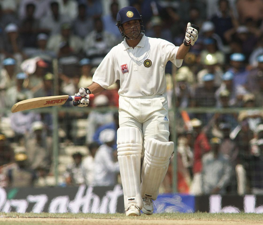 20 Mar 2001:  Sachin Tendulkar of India is annoyed by spectators moving behind the bowlers arm, during day three of the third test between India and Australia at the M.A. Chidambaram Stadium, Chennai, India. X DIGITAL IMAGE  Mandatory Credit: Hamish Blair/ALLSPORT