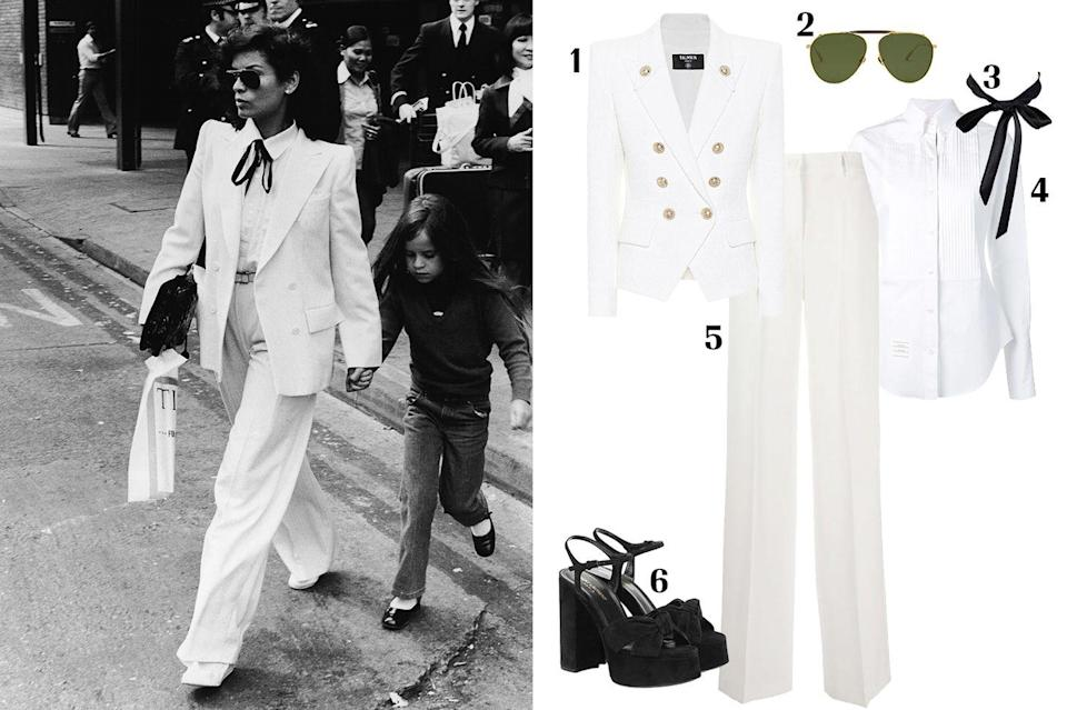 """<p>The """"It girl"""" of the '70s, the reigning queen of Studio 54, the Nicaraguan-born beauty, the wife of a Rolling Stone…Bianca Jagger. Often associated with the glitz and glamour of Studio 54 (think Halston and sequins), Jagger also loved a good suit. So much so that she got married to Mick in a Yves Saint Laurent Column skirt and the iconic """"le smoking jacket."""" Fast forward eight years, and Bianca Jagger was papped in London wearing what would become one of the most iconic pantsuits of our time. She wore a doubled breasted pant suit from YSL's Rive Gauche line complete with a tuxedo-style shirt and a thin bowtie. Saint Laurent's Rive Gauche label is known to have influenced the rise of the women's trouser-suit in the '70s. This suit transcends the test of time and proves that tailoring will never go out of style.</p><p><strong> 1. </strong><em><a href=""""https://www.mytheresa.com/en-us/balmain-tweed-blazer-1370257.html?gclid=CjwKCAjwxev3BRBBEiwAiB_PWBNX9LeadJkEj51LOgwltLY_DvodSUJM9ssXkVCU2QIUBcYk59ABtxoCsikQAvD_BwE&utm_source=sea_pla&utm_medium=google&utm_campaign=google_sea&ef_id=CjwKCAjwxev3BRBBEiwAiB_PWBNX9LeadJkEj51LOgwltLY_DvodSUJM9ssXkVCU2QIUBcYk59ABtxoCsikQAvD_BwE:G:s?pr=lptest1"""" rel=""""nofollow noopener"""" target=""""_blank"""" data-ylk=""""slk:Balmain blazer"""" class=""""link rapid-noclick-resp"""">Balmain blazer</a>, $1,816; </em><strong>2. </strong><em><em><a href=""""https://www.amavii.com/collections/sunglasses/products/philip-18k-gold"""" rel=""""nofollow noopener"""" target=""""_blank"""" data-ylk=""""slk:Amavii Philip sunglasses"""" class=""""link rapid-noclick-resp"""">Amavii Philip sunglasses</a>, $195; </em></em><strong>3. </strong><em><em><a href=""""https://www.amazon.com/YABINA-Ladies-Solid-Color-Bowtie/dp/B01LZCTCA2"""" rel=""""nofollow noopener"""" target=""""_blank"""" data-ylk=""""slk:Amazon necktie"""" class=""""link rapid-noclick-resp"""">Amazon necktie </a>, $4;</em> </em><strong>4. </strong><em><a href=""""https://www.farfetch.com/shopping/women/thom-browne-pleated-bib-tuxedo-shirt-item-13908675.aspx?fsb=1&size=20&storei"""