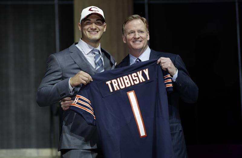 The Bears traded up to take quarterback Mitch Trubisky second overall. (AP)