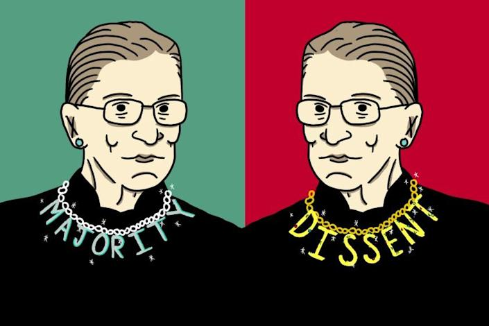 Illustration for a story about RBG's different collars.