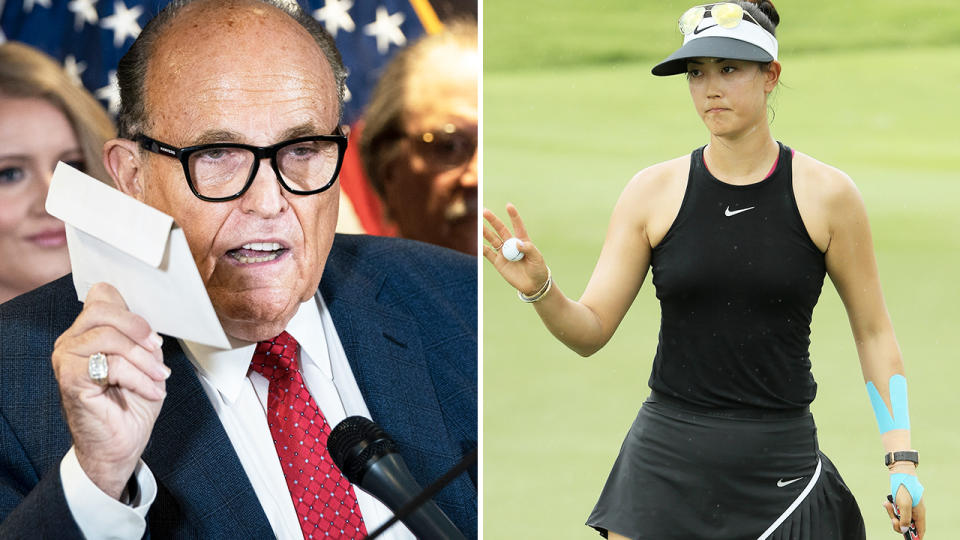 Rudy Giuliani and Michelle Wie West, pictured here on the golf course.