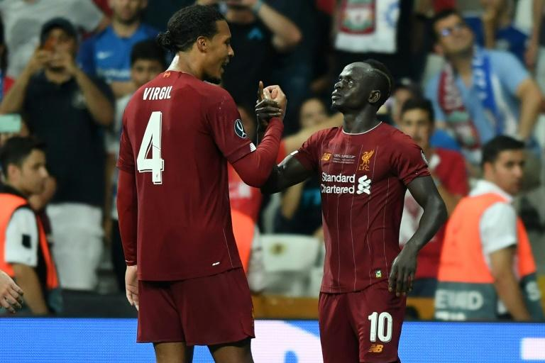 Sadio Mane (R) scored twice for Liverpool but the Super Cup was decided on penalties
