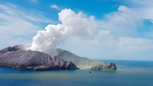 PHOTO: This photo taken on Dec. 9, 2019, provided by the Auckland Rescue Helicopter Trust, shows the eruption of the volcano on White Island, New Zealand. (Auckland Rescue Helicopter Trust via AP)