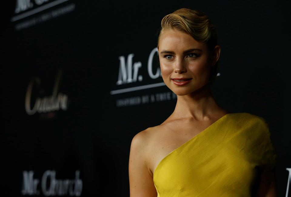 """Cast member Lucy Fry poses at the premiere of """"Mr. Church"""" in Los Angeles, California U.S., September 6, 2016.   REUTERS/Mario Anzuoni"""