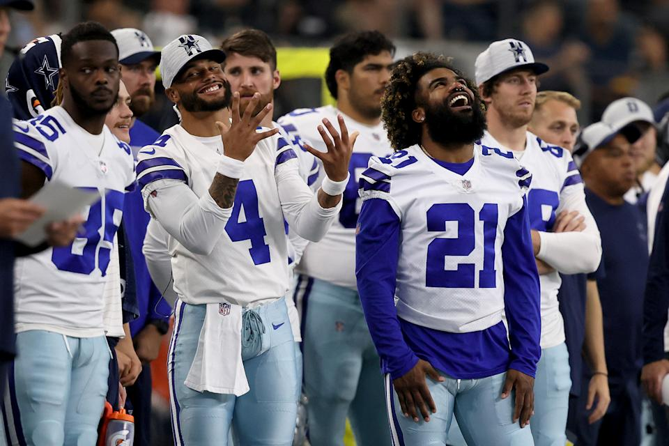Dak Prescott (4) and Ezekiel Elliott (21) of the Dallas Cowboys are hoping for a fast start to the season. (Photo by Tom Pennington/Getty Images)