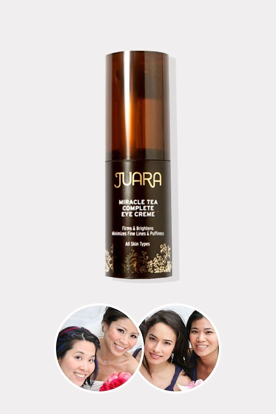 """<p>juaraskincare.com</p><p><strong>$53.00</strong></p><p><a href=""""https://go.redirectingat.com?id=74968X1596630&url=https%3A%2F%2Fwww.juaraskincare.com%2Fproducts%2Fmiracle-tea-eye-creme-0-5-oz&sref=https%3A%2F%2Fwww.oprahdaily.com%2Fbeauty%2Fskin-makeup%2Fg36454382%2Fasian-beauty-brands%2F"""" rel=""""nofollow noopener"""" target=""""_blank"""" data-ylk=""""slk:Shop Now"""" class=""""link rapid-noclick-resp"""">Shop Now</a></p><p>Four friends, stressed to the max, seek out some self-care rituals to help them balance their hectic lives. One of those friends introduces the others to the Indonesian healing rituals of her childhood—and a new brand is born. Each of Juara's products is based on the Jamu herbal tradition of blending homeopathic remedies into skincare preparations to promote healing and wellness. There are plenty of great products in Juara's impressive portfolio, but this eye cream, with turmeric, clove flower, and kombucha, is a surefire standout.</p>"""
