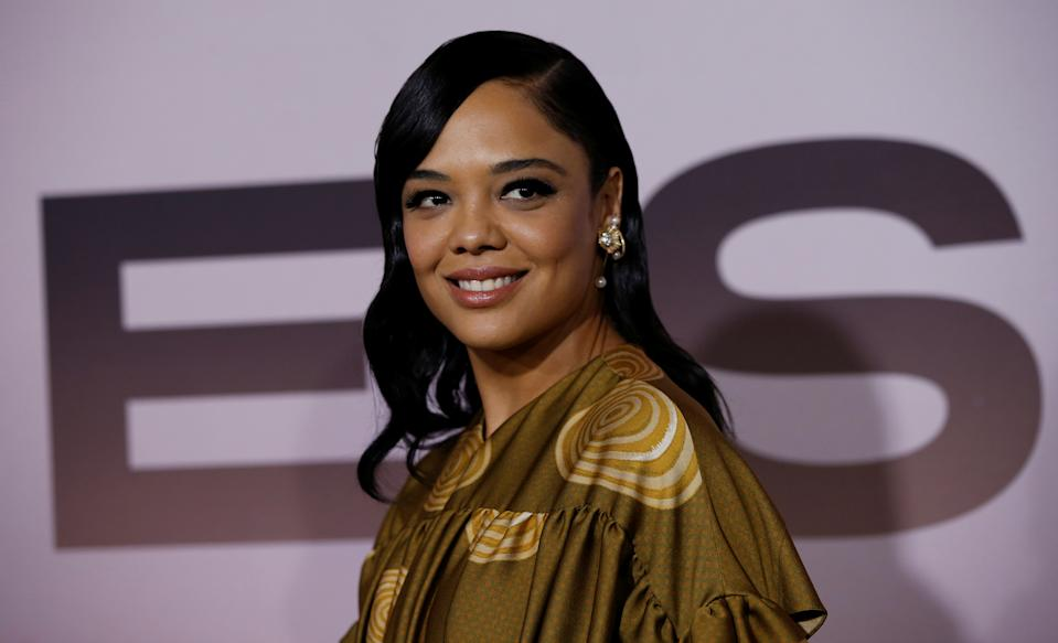 """Cast member Tessa Thompson poses at the premiere for the season 3 of the television series """"Westworld"""" in Los Angeles, California, U.S., March 5, 2020. REUTERS/Mario Anzuoni"""