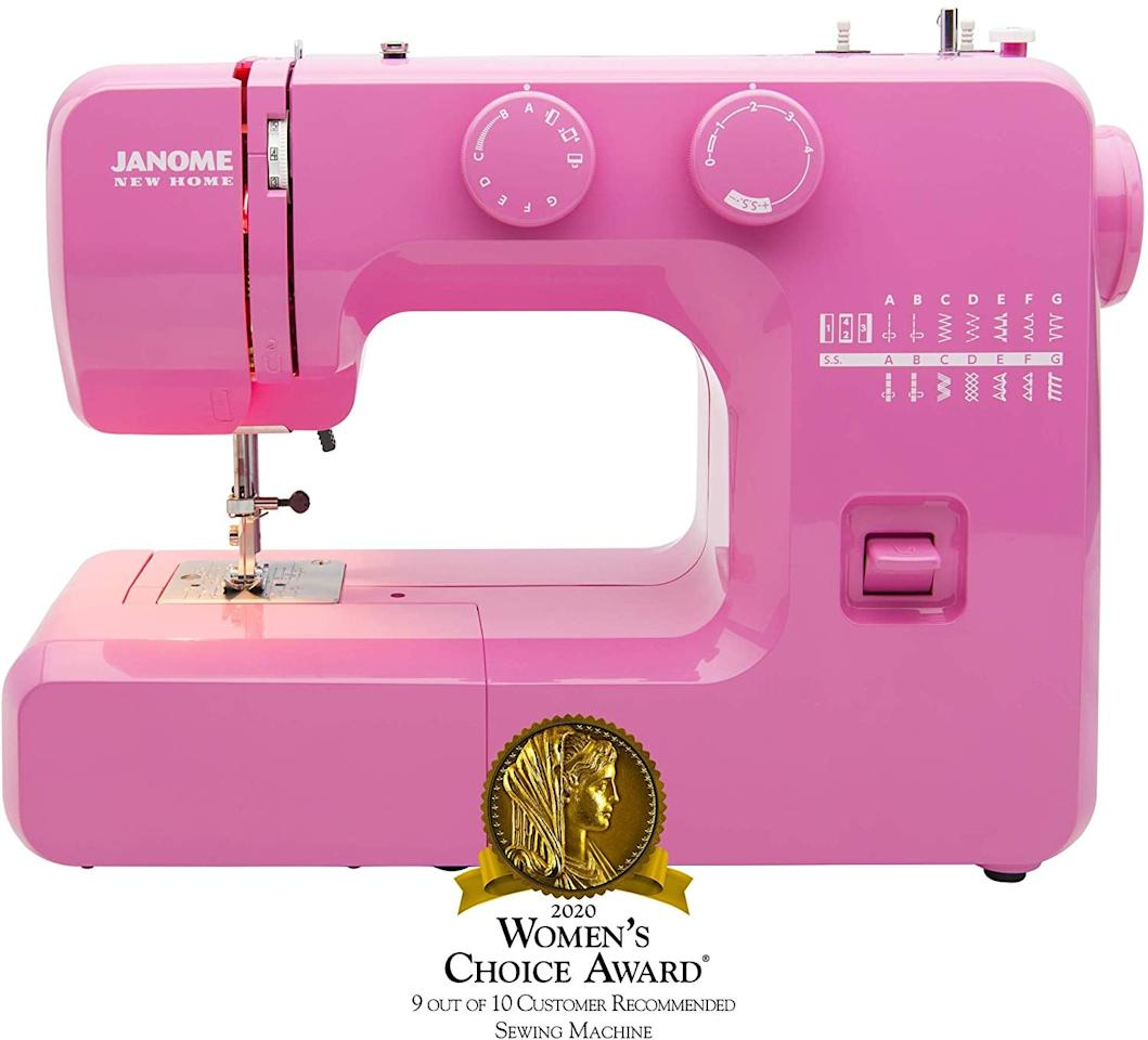 """<p>This <a href=""""https://www.popsugar.com/buy/Janome-Pink-Sorbet-Easy--Use-Sewing-Machine-559379?p_name=Janome%20Pink%20Sorbet%20Easy-to-Use%20Sewing%20Machine&retailer=amazon.com&pid=559379&price=106&evar1=savvy%3Aus&evar9=47333724&evar98=https%3A%2F%2Fwww.popsugar.com%2Fsmart-living%2Fphoto-gallery%2F47333724%2Fimage%2F47333728%2FJanome-Pink-Sorbet-Easy-to-Use-Sewing-Machine&list1=shopping%2Cwellness%2Cactivities%2Cindoor%20activities&prop13=api&pdata=1"""" rel=""""nofollow"""" data-shoppable-link=""""1"""" target=""""_blank"""" class=""""ga-track"""" data-ga-category=""""Related"""" data-ga-label=""""https://www.amazon.com/gp/product/B076XG8S9F/ref=ppx_yo_dt_b_asin_title_o06_s00?ie=UTF8&amp;psc=1"""" data-ga-action=""""In-Line Links"""">Janome Pink Sorbet Easy-to-Use Sewing Machine </a> ($106) comes in pink or mint green and it's great for beginners. I have found it very well-made and easy to use. Plus, the price is really good without sacrificing quality.</p>"""