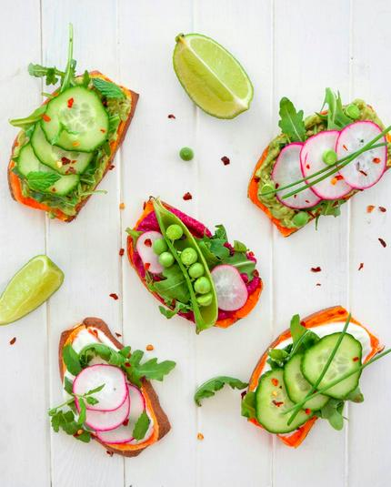 <p>These pea, radish and cucumber bites are nearly too pretty to eat. Nearly. [Instagram/fit.foodie.nutter]</p>