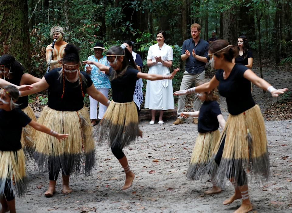 The Prince watches a dance during the Welcome to Country Smoking Ceremony. Photo: Getty