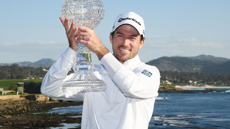 Nick Taylor, pictured here posing with the trophy after winning the AT&T Pebble Beach Pro-Am.