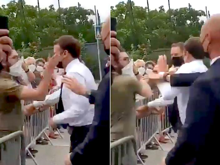 <p>French President Emmanuel Macron was slapped by a member of the public in Tain-l'Hermitage, southeast France</p> (BNONews/Twitter)