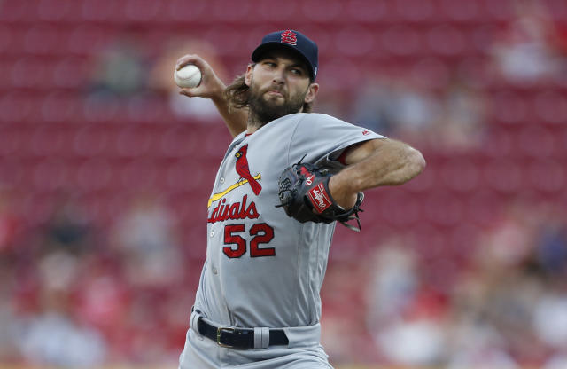 St. Louis Cardinals starting pitcher Michael Wacha throws to a Cincinnati Reds batter during the first inning of a baseball game Thursday, Aug. 15, 2019, in Cincinnati. (AP Photo/Gary Landers)