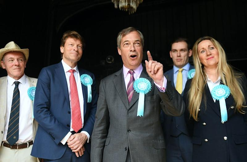 Mr Farage was in Essex on Thursday to urge people to vote for the Brexit Party in the EU elections (PA)