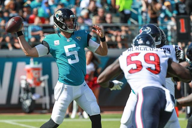 Blake Bortles got benched after a terrible half against Houston. (Getty)