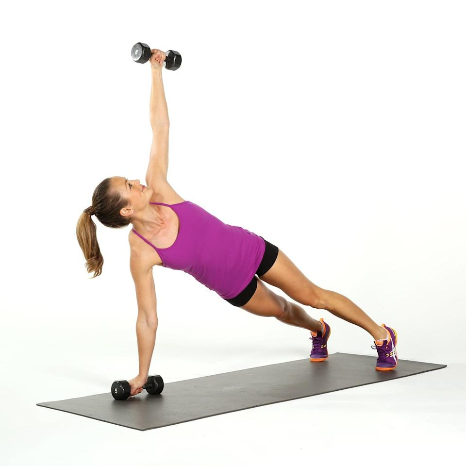 <p>Twisting in a plank position fires up the core and challenges your stability.</p> <ul> <li>Begin in a plank position with your belly button pulled in toward your spin and glutes tight while holding a five-pound dumbbell in each hand. Keep your wrists stiff to protect the joints. Open your feet a little wider than hip-distance.</li> <li>Lift your left hand to the ceiling, twisting through your entire torso - keep the motion smooth and controlled. Your pelvis will rotate, but keep it level without letting it rise or drop. </li> <li>Bring your left hand back to the floor, and repeat this action on the other side to complete one rep.</li> </ul>
