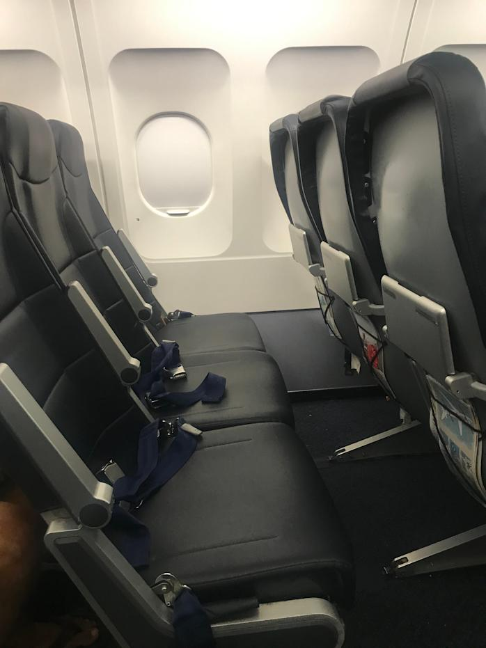 Spirit Airlines' regular economy seats. The airline has the smallest seat pitch of any carrier, according to SeatGuru. But the seats are not unbearable.