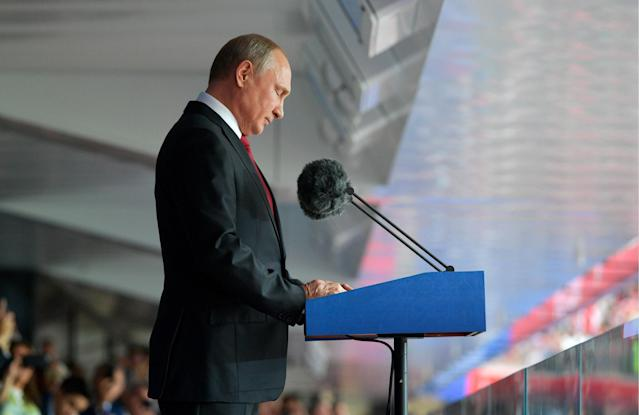<p>Russia's President Vladimir Putin makes a speech at the opening of the 2018 FIFA World Cup at Luzhniki Stadium. Alexei Druzhinin/Russian Presidential Press and Information Office/TASS (Photo by Alexei Druzhinin\TASS via Getty Images) </p>