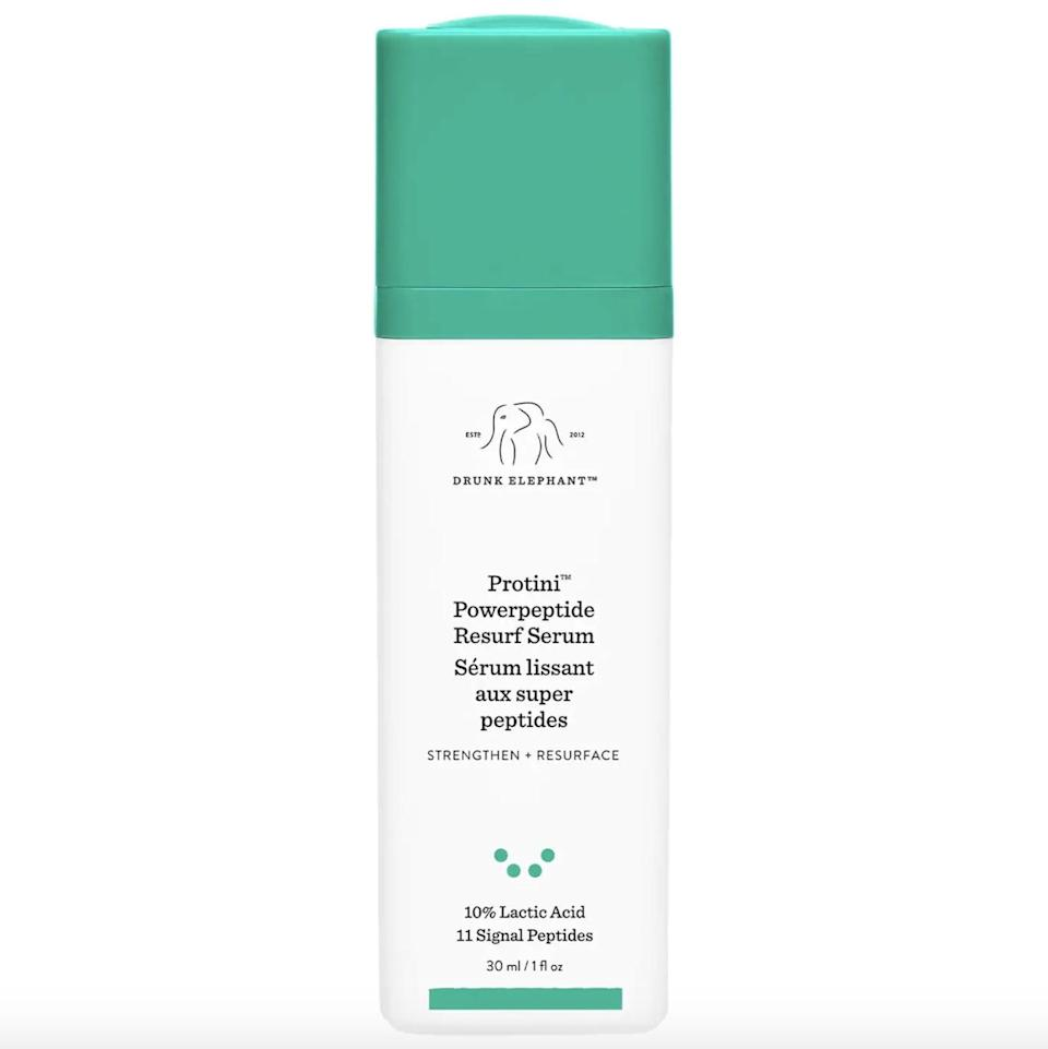 """<p>While I'm forever fan of the brand's hyaluronic acid serum, the <span> Drunk Elephant Protini Powerpeptide Resurfacing Serum </span> ($82) takes the runner up spot. The combination of 10 percent lactic acid and 11 different peptides works to both exfoliate and nourish the skin, without overdoing it. Somehow my skin always feels fresh and moisturized after. I especially love using it on my neck and chest, too. Plus, it's an <a href=""""https://www.popsugar.com/beauty/drunk-elephant-protini-powerpeptide-resurfacing-serum-review-48425131"""" class=""""link rapid-noclick-resp"""" rel=""""nofollow noopener"""" target=""""_blank"""" data-ylk=""""slk:editor-favorite pick"""">editor-favorite pick</a>.</p>"""