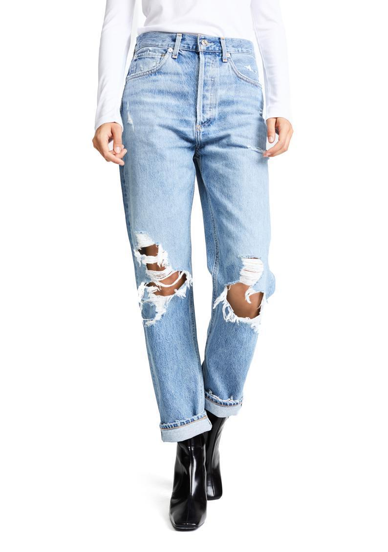 "Founded in 1989 and relaunched in 2014, Agolde has '90s-inspired jeans down to a science. If you're on the hunt for a distressed look, consider this non-stretch mid-rise option that's peak '90s nostalgia. $188, Shopbop. <a href=""https://www.shopbop.com/90s-fit-mid-rise-loose/vp/v=1/1581957958.htm"" rel=""nofollow noopener"" target=""_blank"" data-ylk=""slk:Get it now!"" class=""link rapid-noclick-resp"">Get it now!</a>"