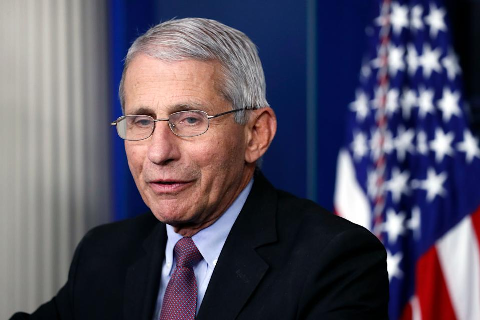 FILE - In this April 22, 2020, file photo, Dr. Anthony Fauci, director of the National Institute of Allergy and Infectious Diseases, speaks about the new coronavirus in the James Brady Press Briefing Room of the White House, in Washington. A Senate hearing on reopening workplaces and schools safely is turning into a teaching moment on the fickle nature of the coronavirus outbreak. Senior health officials, including Fauci, scheduled to testify in person before the Health, Education, Labor and Pensions committee on Tuesday, May 12 will instead appear via video link.  (AP Photo/Alex Brandon, File)