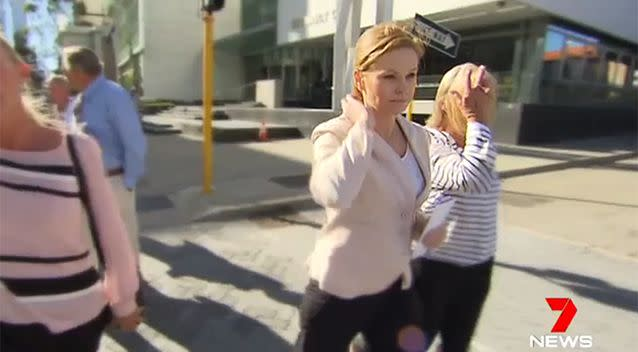 Michelle Fernandez leaves court in Perth. Photo: 7 News