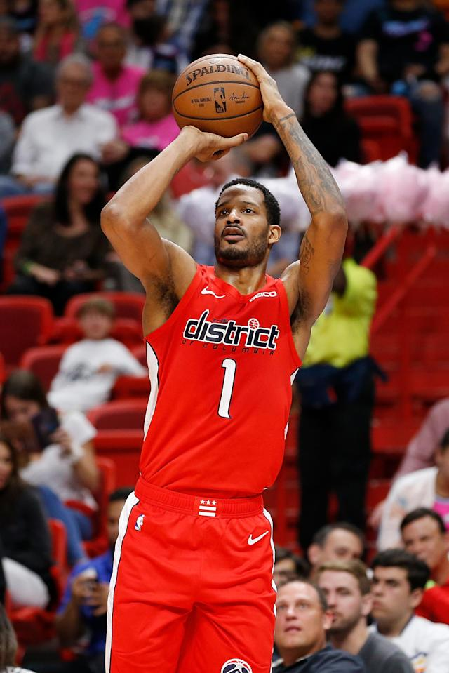 MIAMI, FL - JANUARY 04: Trevor Ariza #1 of the Washington Wizards shoots a three pointer against the Miami Heat during the first half at American Airlines Arena on January 4, 2019 in Miami, Florida. (Photo by Michael Reaves/Getty Images)
