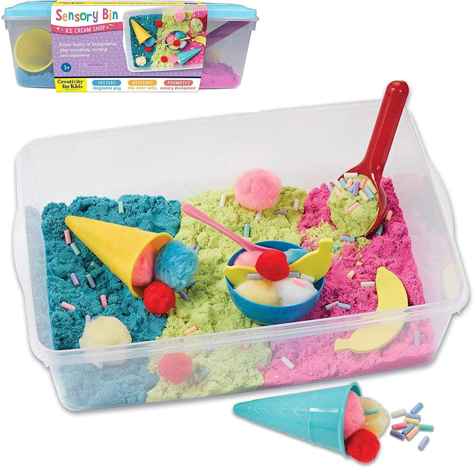 <p>Sensory bins are such a fun way to get kids exploring with their hands. I like this <span>Creativity for Kids Sensory Bin: Ice Cream Shop Playset</span> ($20), which contains colored sand, rainbow sprinkle beads, ice cream cones, and more for hands-on play.</p>