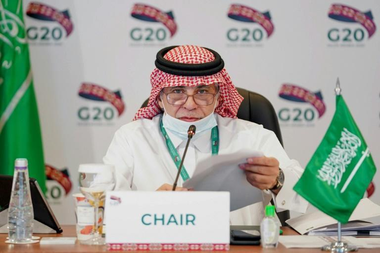 Saudi Minister of Commerce Majid al-Qasabi chairs a virtual G20 finance ministers' meeting in September
