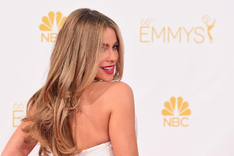 Sophia Vergara arrives on the red carpet for the 66th Emmy Awards in Los Angeles, California (AFP Photo/Frederic J. Brown)