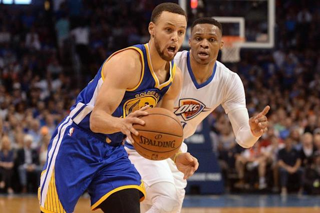 Curry domine Westbrook/Photo prise le 21 mars 2017/REUTERS/� USA Today Sports / Reuters