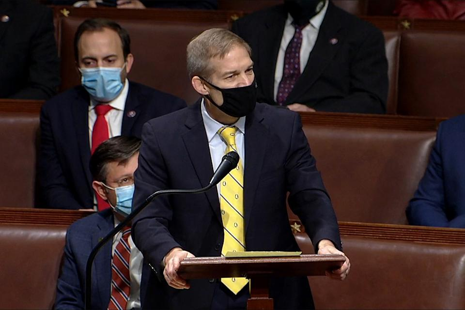 WASHINGTON, DC - JANUARY 06: In this screenshot taken from a congress.gov webcast, Rep. Jim Jordan (R-OH) speaks during a House debate session to ratify the 2020 presidential election at the U.S. Capitol on January 6, 2021 in Washington, DC. Congress held a joint session today to ratify President-elect Joe Biden's 306-232 Electoral College win over President Donald Trump. A group of Republican senators said they would reject the Electoral College votes of several states unless Congress appointed a commission to audit the election results. (Photo by congress.gov via Getty Images)