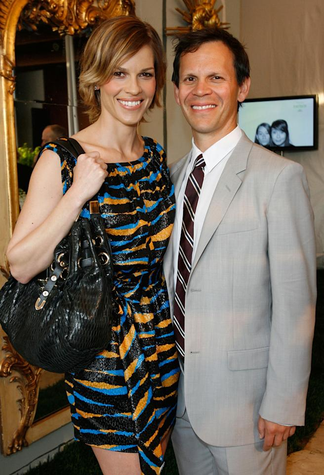 SANTA MONICA, CA - APRIL 22:  Actress Hilary Swank (L) and John Campisi attend the Los Angeles Antiques Show Opening Night Preview Party For P.S. Arts on April 22, 2009 in Santa Monica California.  (Photo by Donato Sardella/WireImage)