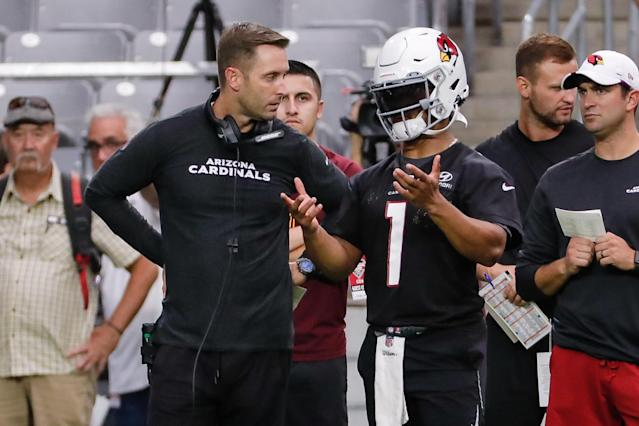 Kliff Kingsbury and Kyler Murray are a dynamic duo who should bring prosperity to Fantasyland this season. (Photo by Kevin Abele/Icon Sportswire via Getty Images)