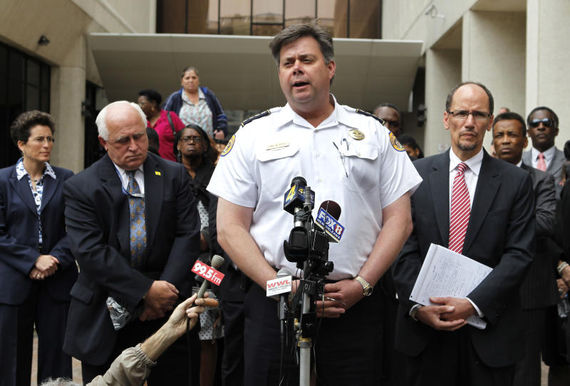 New Orleans Police Chief Ronal Serpas speaks outside Federal Court after sentences were handed out to five former New Orleans police officers in New Orleans, Wednesday, April 4, 2012. They were sentenced Wednesday to prison terms ranging from six to 65 years for their roles in deadly shootings of unarmed residents in the chaotic days after Hurricane Katrina. Background, left to right, are prosecutor Bobbi Bernstein, Dave Welker, special agent-in-charge for the F.B.I. in New Orleans, and Tom Perez, head of the civil rights division of the Justice Department, far right. (AP Photo/Gerald Herbert)